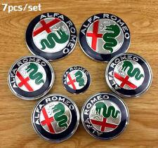 7x SET Alfa Romeo 74mm Emblem Badge Front+Back 60mm WHEELS & STEERING W. CAP