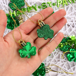 Hanging Shamrock Ornaments St. Patricks Day Good Luck Clover Decoration 36 Pcs