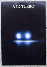 RENAULT A610 TURBO Car Sales Brochure 1992 #2247406