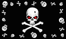 3'x5' Jolly Roger Skulls Red Eyes Flag Pirate Crossbones Ship Mutiny Banner 3x5