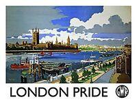 London Stolz Vintage Schiene Ad. Kleines Stahlschild 200mm x 150mm (Og)