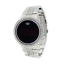 Men Women Sliver Digital Smart Touch Screen Hip Hop Sports Watch Metal Bling CZ