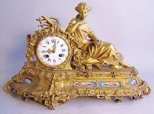Fine 19th C. French Gilt Bronze & Sevres Porcelain Statue Clock c. 1870  antique