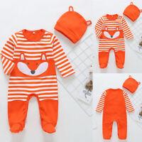 Baby Boys Girls Fox Striped Printed Long Sleeve Romper Bodysuit+Hat 2Pcs Sets SP