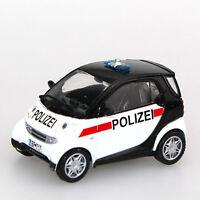 1:43 Smart City Coupe 2002 PRC Police Car DeAGostini Diecast Model Toy Car Patro