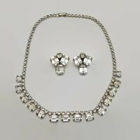 Vintage Weiss Sparkling Clear Rhinestone Necklace & Earrings Set