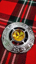 "TC Kilt Fly Plaid Celtic Brooches Yellow Stone Silver Finish 3""/Celtic Knot Work"