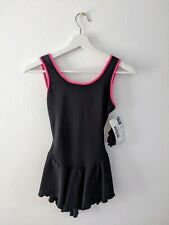 NEW  MAIN STREET DANCEWEAR 79987 SKATING DANCE CLOVERLEAF BACK DRESS BLACK Large