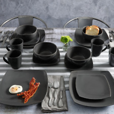 Modern 16-Piece Service for 4 Glossy Grey Square Plate Dinnerware Dish Set Bowls