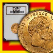 DENMARK 1890-(h) HC-CS Gold 20-Kroner KM#791.1 NGC MS 65