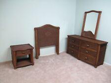 Brown Wicker Rattan 4 Piece Twin Bedroom Set
