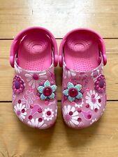 Girls Pink Floral Crocs C10-11
