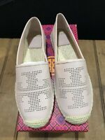 NIB Brand New Tory Burch Sea Shell Pink Perforated Logo Espadrilles ~ Size 8.5