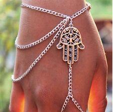 Hamsa Fatima Bracelet Finger Ring Slave Chain Hand Harness Bangle Gift UK
