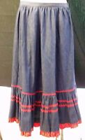 EX Womens Denim Western Mid Calf A Line Square Dance Country Skirt Large Ruffled
