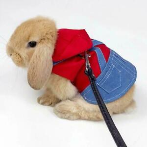 Bunny Harness Vest and Leash For Rabbits Small Animal Dress Clothes P2W0