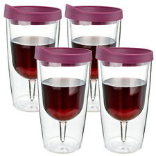 Wine Champagne Tumbler Insulated Double Wall Acrylic Red Lid Drink Cup 10oz 4PK
