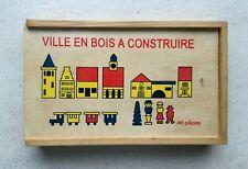 Ville en bois à construire | Ancien jeu de construction | Boite en bois vintage.