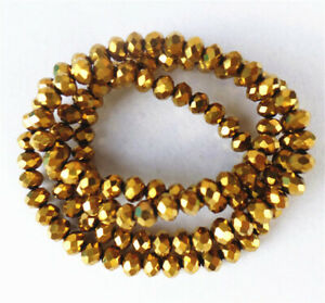1 Strand 4x3mm Titanize Gold Crystal Glass Faceted Wheel Beads 15.5inch BB4680k