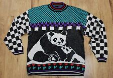Vintage 80s Panda Sweater, Colorblock Blue Red Black White, Shimmery Oversized