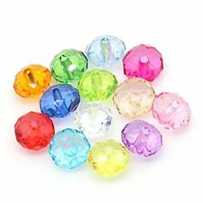 Mixed Faceted Acrylic Rondelle Spacer Beads 12mm 190 Pack (2.1mm Hole)