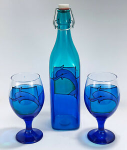 Nautical Dolphin Stained Recycled Glass Australian Art Bottle + 2 Wine Goblets