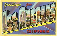 Greetings from LOS ANGELES California ~ Large Letter Linen 1940s~ vintage unused