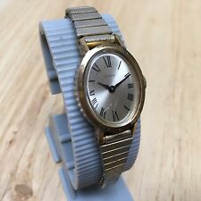 Vintage Timex Lady Gold Tone Oval Roman Hand-Winding Mechanical Watch Hours~Runs