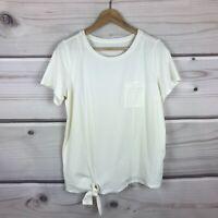 AnyBody Womens Small Cozy Knit Side Tie Tee Shirt Stretch Knit Pocket Top Cream