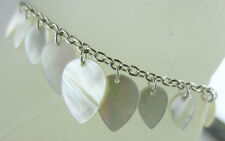 Lotus Petals Ankle Bracelet Anklet Dangling Silvertone White Mother of Pearl
