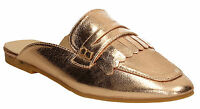 Womens Loafer Mules Ladies Metallic Rose Gold Champagne Shoes Summer Loafers