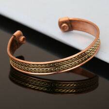 Bracelet Unisex Cuff Link Copper Pain Relief Magnetic Therapy Healing Bangle