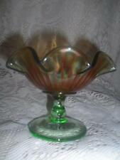 Antq Northwood Marigold Iridescent Carnival Glass Smooth Ray Green Stem Compote