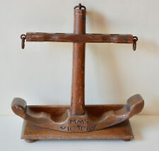 More details for vintage tallent pipe rack hms victory anchor handcarved oak pipe stand england