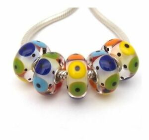 Colorful Circles Lampwork Glass S925 Sterling Silver European Bead Charm-Qty. 5