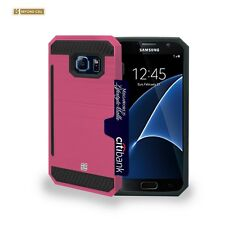 For Galaxy S7 Rugged Pink Hybrid Case Credit Card Slot Free Screen Protector
