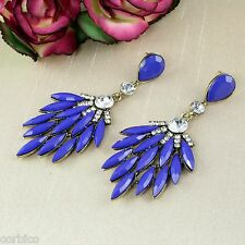 E7 Blue Resin and Crystals Leaf Chandelier Statement Drop Dangle Stud Earrings