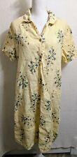 Vtg Donna Womens Large 100% Linen Short Sleeve Semi Sheer Floral Dress Yellow