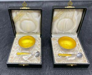 Meka Danish Salt Cellar with spoon. Sterling Silver Yellow Enamel Denmark Pair
