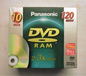 Sealed Panasonic DVD-RAM LM-AF120LE10 2~3 x speed, 4.7GB, 120 Min, 10 x Disc
