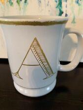"williams sonoma Mug Gold Rim Monogram ""A"""