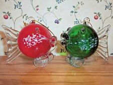 Two Red Green Art Glass Hand Crafted Tropical Fish Ornaments - New