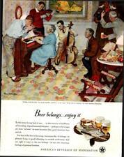 1947 US Beer Brewers #1 in Series 'Family Musicale' Music Vintage Print Ad 531