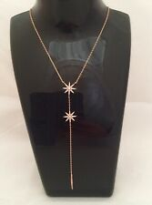 925 Sterling Silver Rose Gold Star Bar Pendant Necklace
