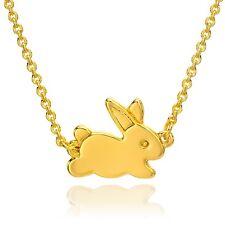Rabbit Necklace, Gold Bunny Pendant Animal Charm Jewelry Gift