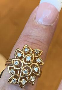 """Large,Heavy 14K YG .50cttw Diamond Flower Cluster Ring 6.8gr. Size 5 3/4"""""""