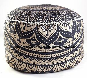 INDIAN BLACK GOLD OMBRE MANDALA OTTOMAN POUFFEE FOOT STOOL POUF ROUND FLOOR POOF