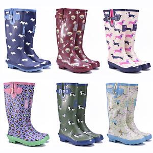 Ladies Wellies Wellington Boots Waterproof Festival Wide Calf Rubber Rain Boots