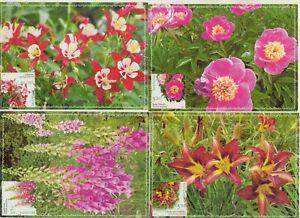 Moldova , 2017 , Plants from Botanical Garden , Flowers , set of 4 maxicards