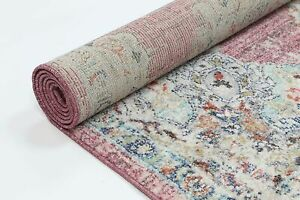 Reigate Pink Medallion Oriental Transitional Rug 80x300cm **FREE DELIVERY**